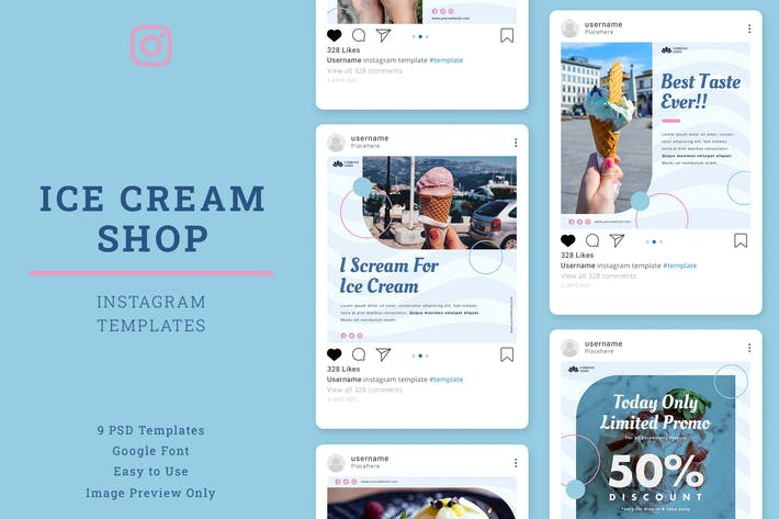 Thumbnail for Ice Cream Shop Instagram Post Template