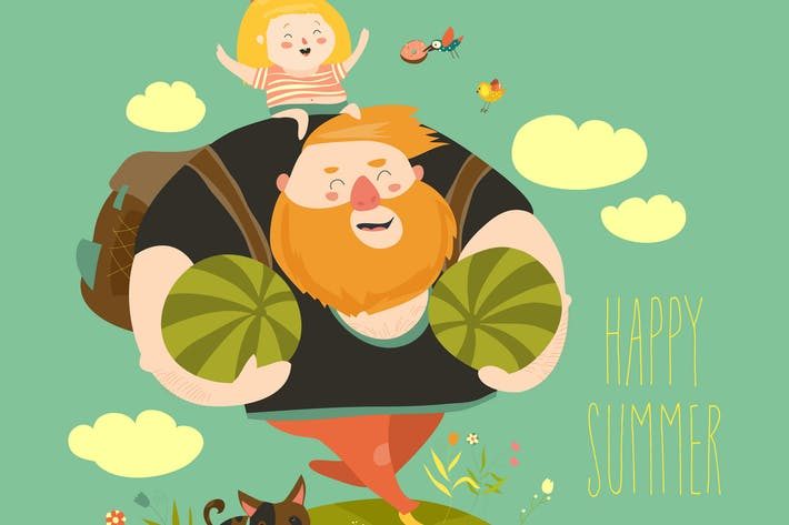 Thumbnail for Dad and his daughter are going to picnic. Vector