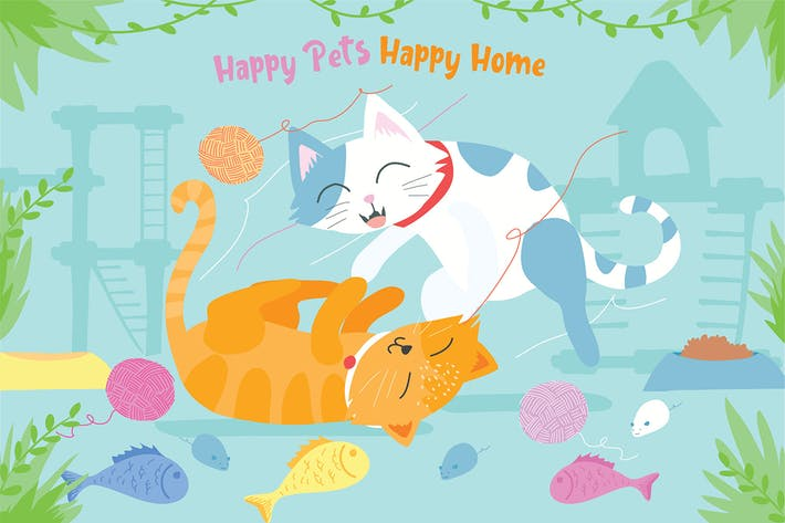 Thumbnail for Happy Pets - Vektor Illustration