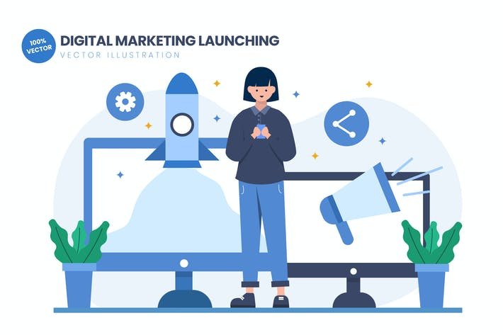 Cover Image For Digital Marketing Launching Flat Illustration