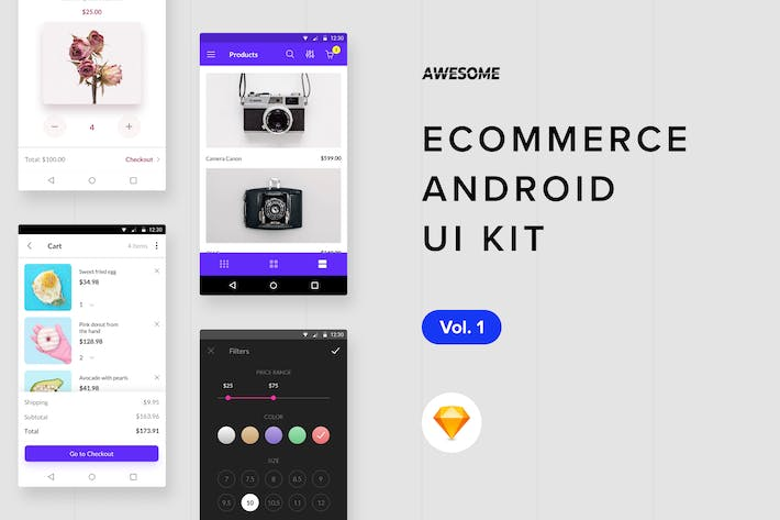 Thumbnail for Android UI Kit - Ecommerce Vol. 1 (Sketch)