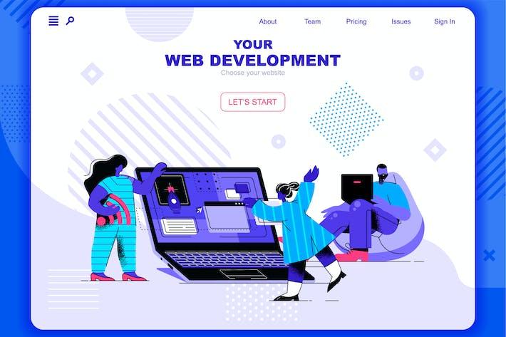 Web Development Flat Concept Landing Page Header