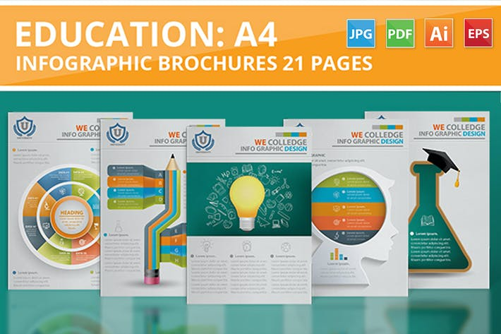 Thumbnail for Education Infographic 21 Pages Design