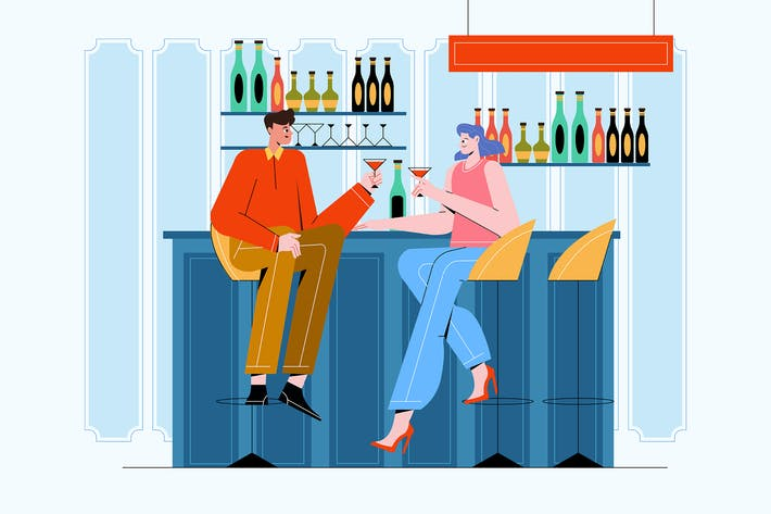 Man and woman drinking in bar