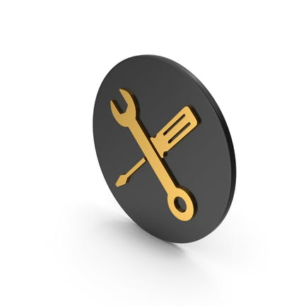 Screwdriver And Wrench Gold Icon