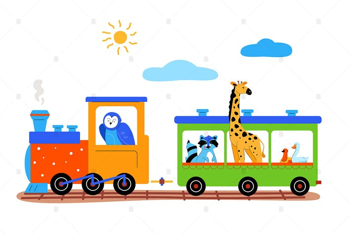 Thumbnail for Cute animals riding train flat illustration