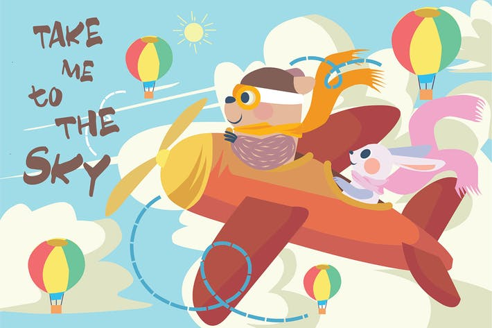 Thumbnail for Fly in The Sky - Vector Illustration