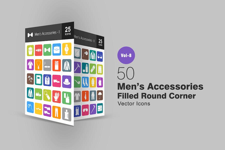 50 Men's Accessories Filled Round Corner Icons