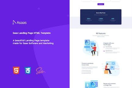 Asaas - Saas Landing Page HTML-Vorlage