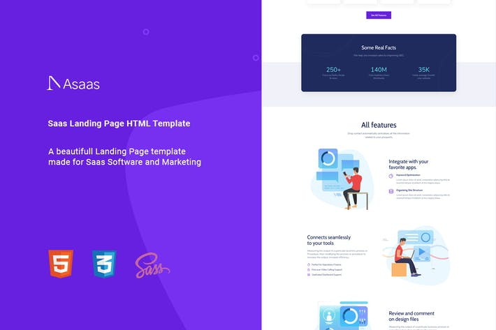 Thumbnail for Asaas - Saas Landing Page HTML Template