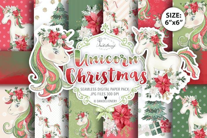 Thumbnail for Unicorn Christmas digital paper pack