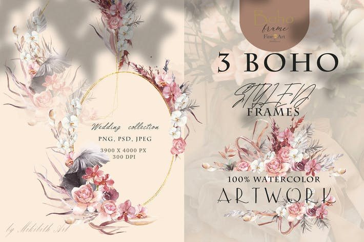Thumbnail for 3 boho styled frames PNG, Psd, jpeg