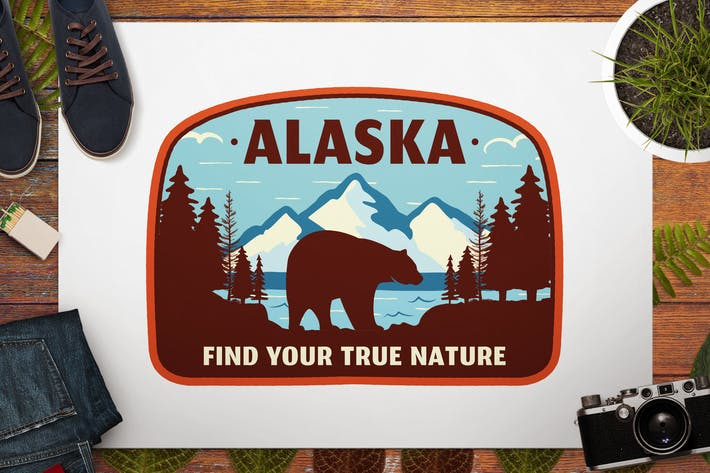 Thumbnail for Vintage Alaska Travel Logo / Retro Mountain Badge