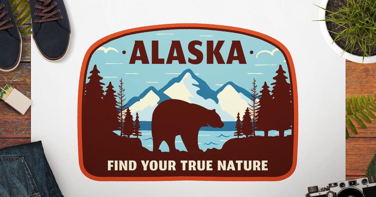 Download Vintage Alaska Travel Logo / Retro Mountain Badge by JeksonJS