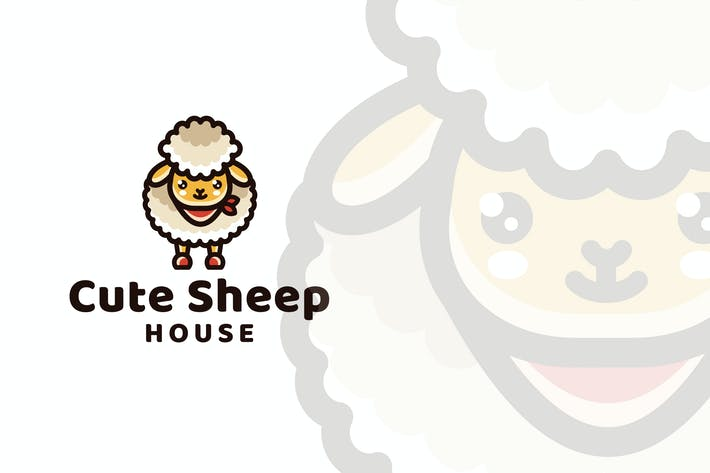 Cover Image For Cute Sheep House Logo Template