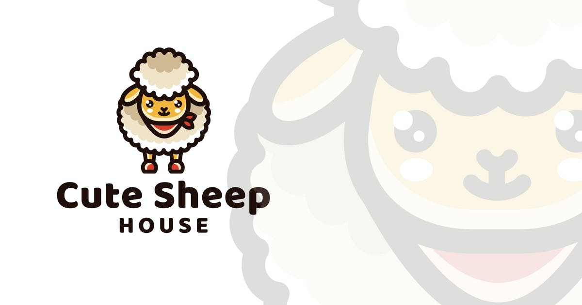 Download Cute Sheep House Logo Template by IanMikraz