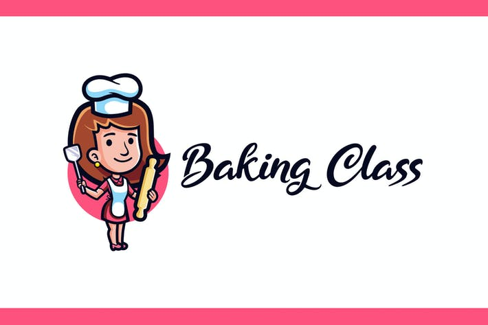 Thumbnail for Cartoon Baking Class Girl Mascot Logo