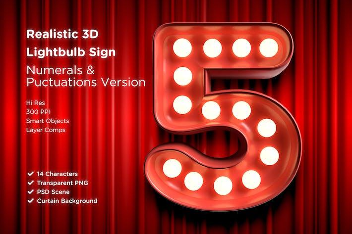Thumbnail for 3D Lightbulb Sign Numeral Set