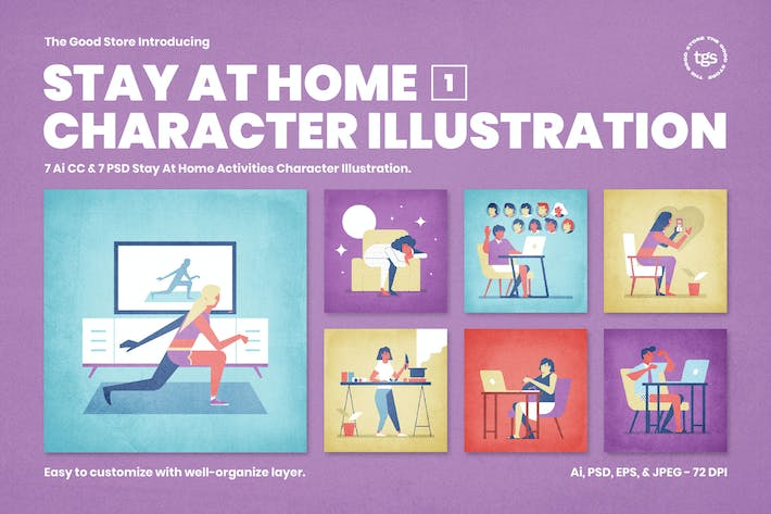 Thumbnail for Stay At Home Character Illustration Vol.1