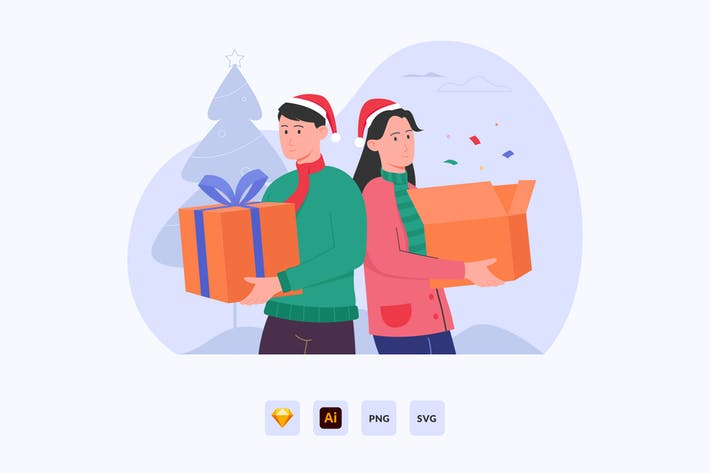 Thumbnail for Couple With Christmas Gift Vector Illustration
