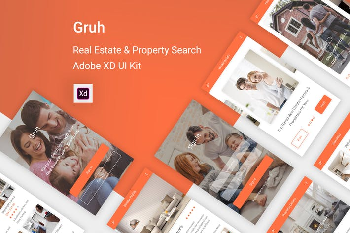 Thumbnail for Gruh - Real Estate & Property Search Adobe XD App