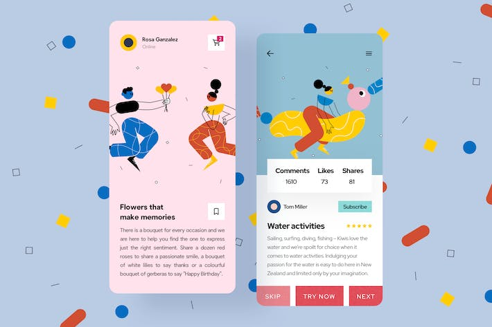 Thumbnail for Date Mobile Interface Illustrations