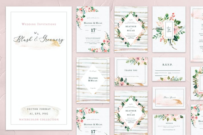 Blush & Greenery Wedding Collections