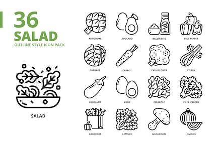Conjunto de iconos de estilo de esquema de ensalada