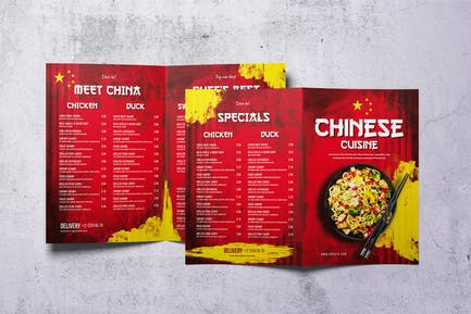 Chinese Cuisine Bifold A4 & US Letter Menu