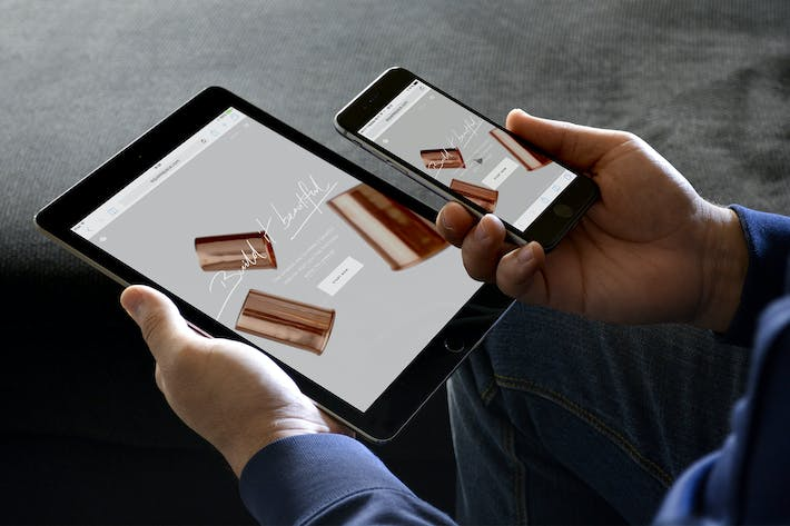 Thumbnail for Responsive Mockup Holding iPad iPhone Black