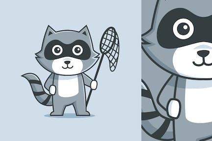 Carácter mapache mascota dibujos animados sosteniendo la red