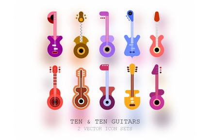 Ten + Ten Guitars (2 vector icon sets)