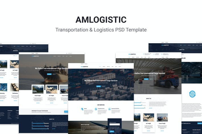 Thumbnail for Amlogistic | Transportation & Logistics PSD Templa