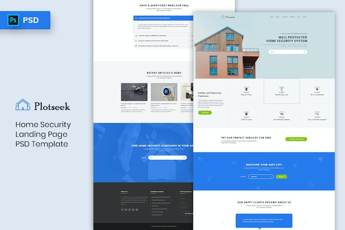 Thumbnail for Home Security - Landing Page PSD Template