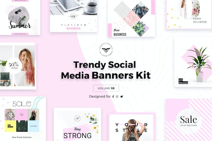 Cover Image For Trendy Social Media Banners Pack VIII