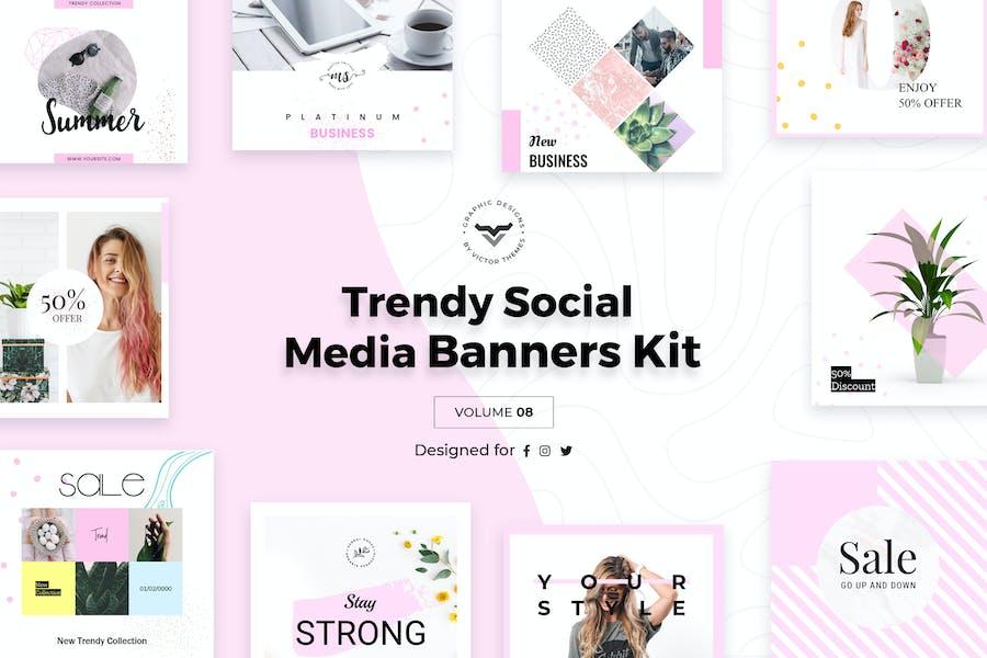 Trendy Social Media Banners Pack VIII