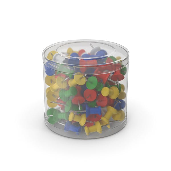 Push Pins In Plastic Box