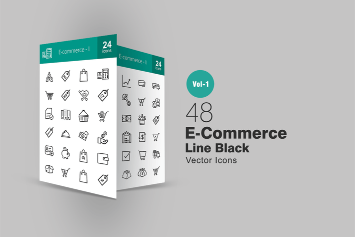 Thumbnail for 48 Ecommerce Line Icons
