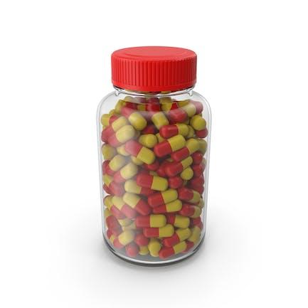 Botella de tableta de vidrio sin etiqueta