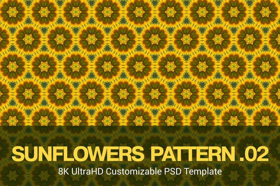 8K UltraHD Seamless Sunflowers Pattern Background