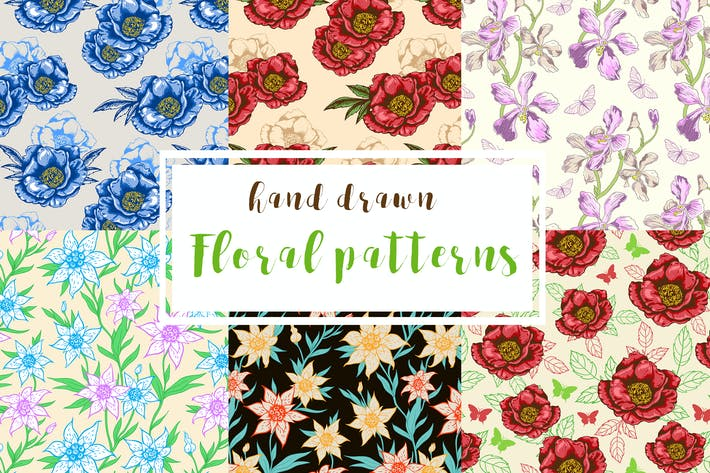 Cover Image For Hand Drawn Floral Patterns