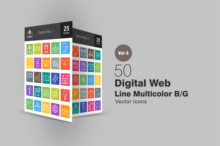 Thumbnail for 50 Digital Web Line Multicolor Icons