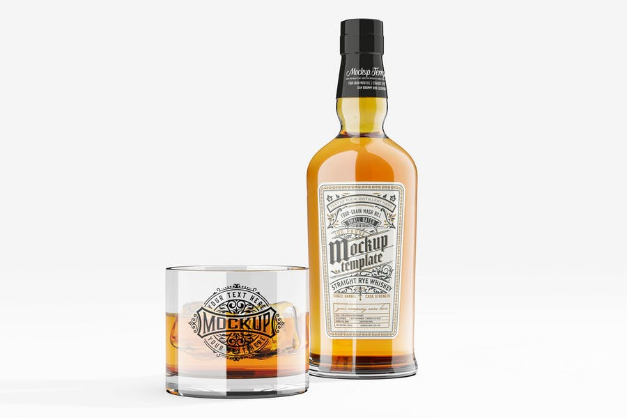 Whiskey Bottle and Glass Mockup