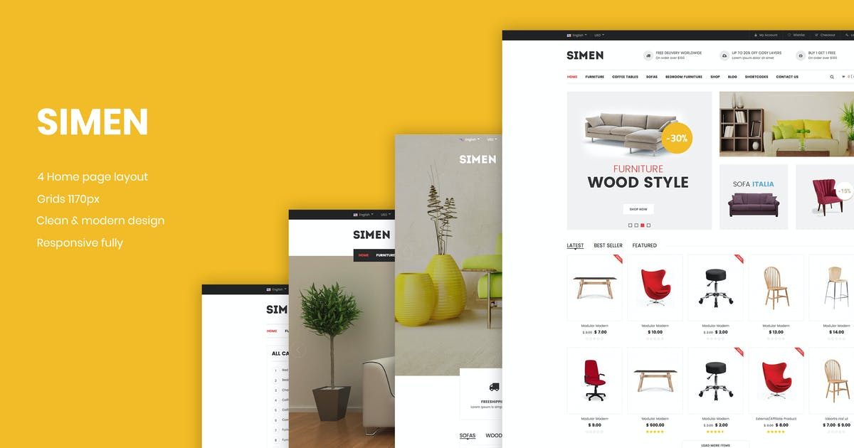 Download Simen - Responsive eCommerce Bootstrap Template by snstheme