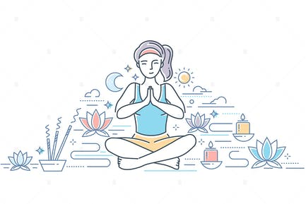Üben Yoga - Linie Design Stil Illustration
