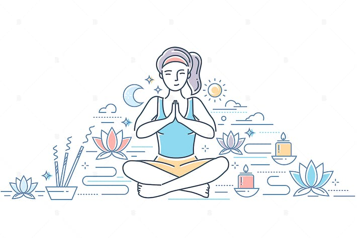 Thumbnail for Practicing yoga - line design style illustration