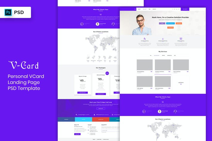 Thumbnail for V-Card - Landing Page PSD Template