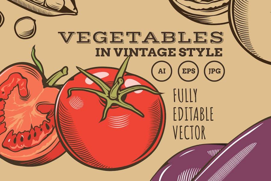 Vegetables in Vintage Style
