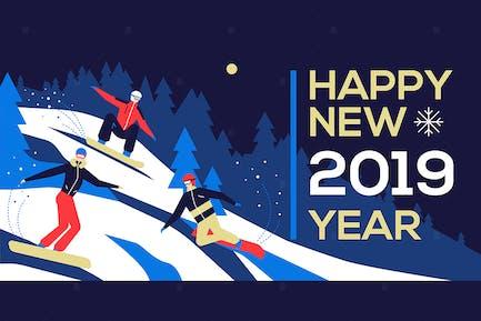 Happy new year 2019 - flat design illustration