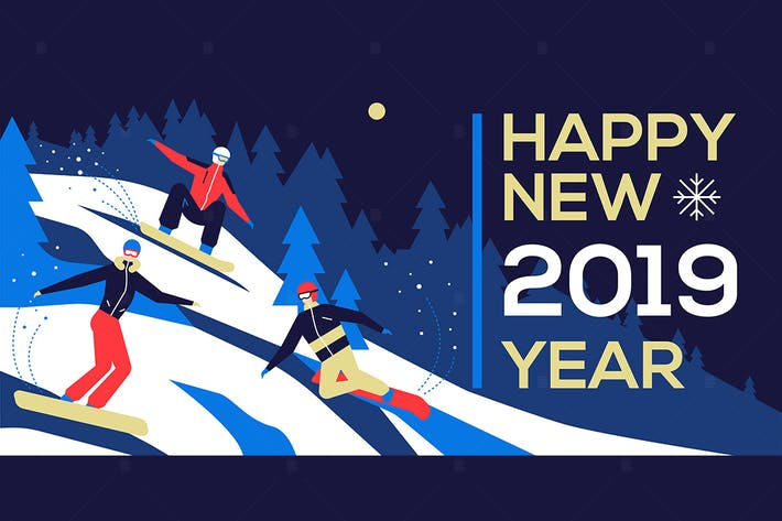 Thumbnail for Happy new year 2019 - flat design illustration